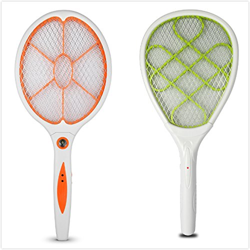 Yongtong 2-Pack Mosquito Racket, 2 Different Model, Portable Insect Killer Pest Control, Handheld Bug Zapper Electric Swatter, with LED Nightlight and 2 Switch Buttons, Used by 2 AA batteries