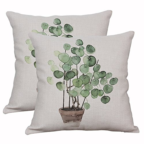 YeeJu Set Of 2 Green Plant Throw Pillow Covers Decorative Cotton Linen Cushion Cover Outdoor Sofa Home Pillow Covers 18x18 Inch