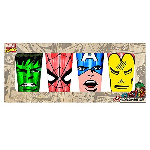 Silver Buffalo MC031P20 Marvel Comics Superhero Faces Pint Glass Set, 4-Pack