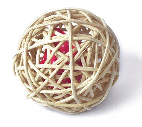 Katzenspielzeug Baldi-Ball, Rattanball mit 2 Stück Baldriankissen