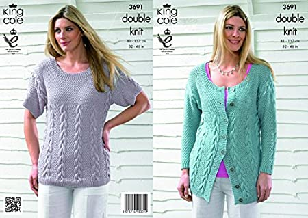 fdbc74f85d1cab King Cole Ladies Cardigan   Top Bamboo Cotton DK Knitting Pattern 3691