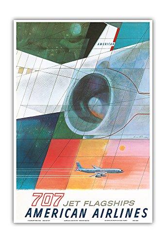 Pacifica Island Art Boeing 707 Jet Flagships - American Airlines - Vintage Airline Travel Poster by Herbert Danska c.1957 - Master Art Print - 13in x ()