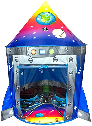 Childrens Play Tent - Rocket Ship Play Tent Playhouse | Unique Space and Planet Design for Indoor and Outdoor Fun, Imaginative Games & Gift | Foldable Playhouse Toy + Carry Bag for Boys & Girls | by Imagenius Toys