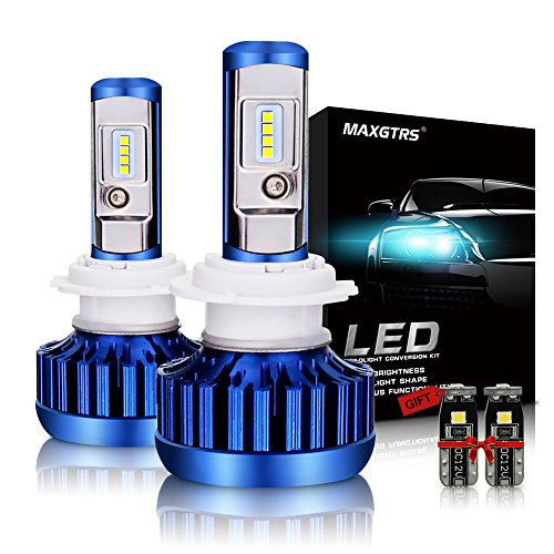 (MAXGTRS H7 LED Headlight Bulb All-in-One Conversion Kit 8000LM 6000K 70W Cool White CSP Chips Fog Light Headlamps-2 Yr Warranty)