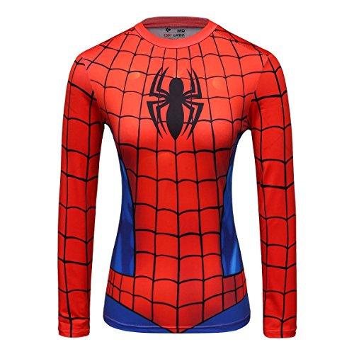 (Red Plume Women's Compression Short-Sleeved T-Shirt Yoga Sport Spider Shirt Fitness Short Sleeve for Women ... Red)