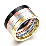 Men's Plain Rings 12MM White/Black/Yellow/Rose Gold Plated 316L Titanium Stainless Steel Engagement Promise Rings Wedding Bridal Rings Bands High Polished Finish Comfort Fit Size 7-10