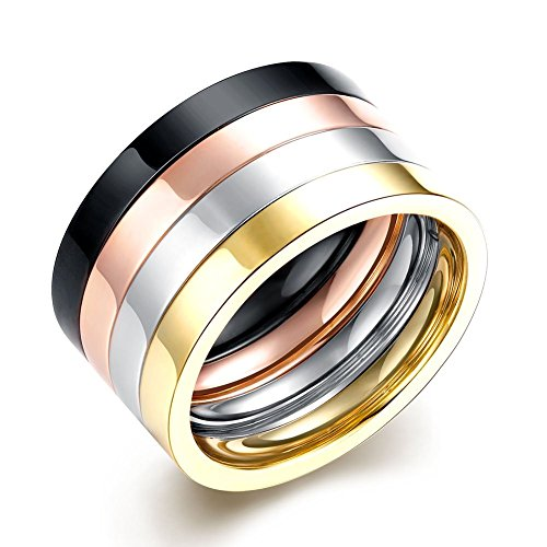 Easy Freak Show Costumes (Focus Jewel Unisex 4 Colors Four-tones Black Silver Rosegold Gold Plain Stacking Band Wedding Ring US7-10)