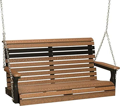 LuxCraft PolyTuf 4' Plain Swing Antique Mahogany & Black