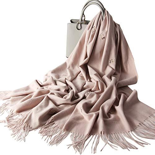 DANA XU Embroidery Wool Large Size Winter Women Pashmina Shawls and Wraps Poncho Cape (Pink Deer)