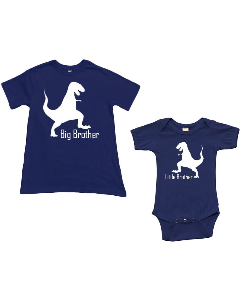 Baby 0-3m + Boys 4y, Navy/Navy (Little Brother & Big Brother-Dinosour)