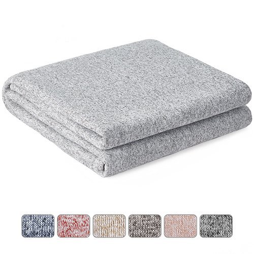 New Kawahome Original Woven Blanket(Full/Queen Size, Grey and White), Cozy Reversible Gradient Printed Blanket with Classic Pattern, Soft Lightweight Heather Blanket for Bed or Couch/Sofa, Easy Care hot sale