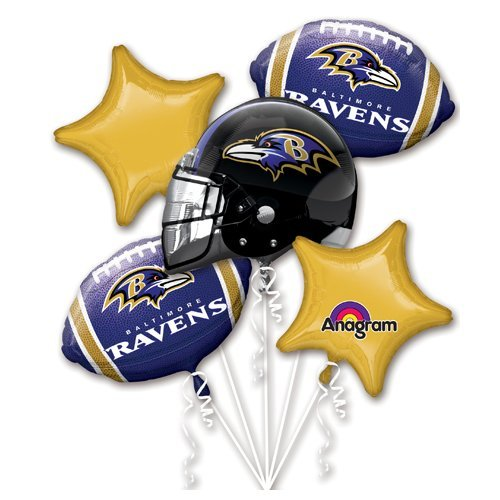 Baltimore Ravens Decorations - LA Balloons 3140801 Foil, Multicolor