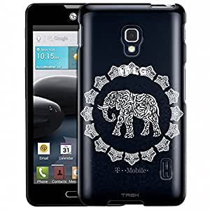 LG Optimus F6 Case, Slim Fit Snap On Cover by Trek White Lace Elephant Clear Case