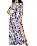Roiii Women Vintage Phoenix Print Split Summer Beach Short Sleeve V Neck Long Maxi Dress Size 6-24 (Large, Muti)