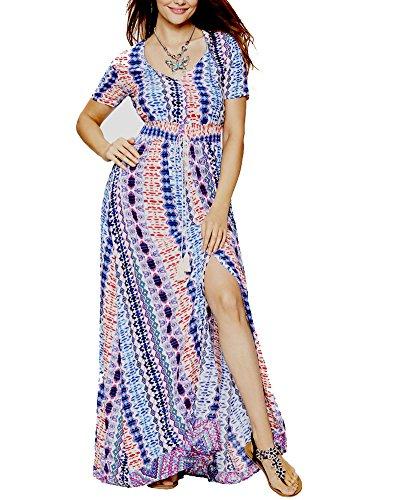 Roiii Women Vintage Phoenix Print Split Summer Beach Short Sleeve V Neck Long Maxi Dress Size 6-24 (Medium, Muti) by Roiii