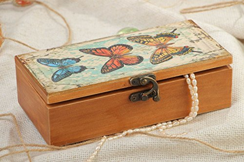 - Handmade Rectangular Varnished Wooden Jewelry Box With Butterfly Print