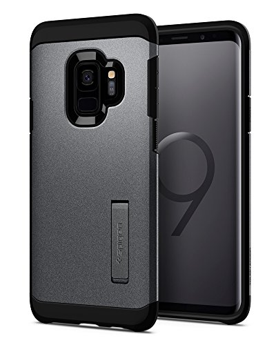 Spigen Tough Armor Galaxy S9 Case with Reinforced Kickstand and Heavy Duty Protection and Air Cushion Technology for Samsung Galaxy S9 (2018) – Graphite Gray