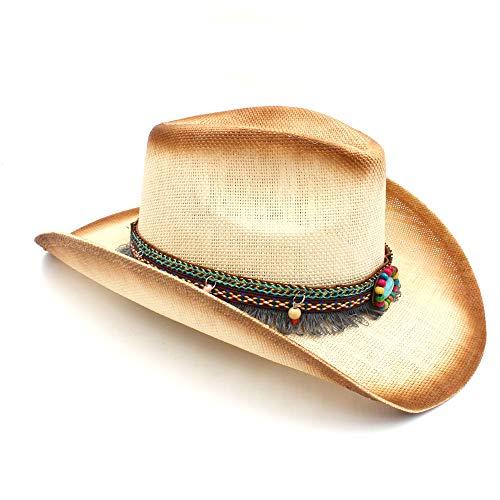 Hat- Moda Mujer Paja Sombreros de Vaquero con Banda de Cuero Punk para  señora papá Western Sombrero Hombre Vaquera (Color   Natural 9921024afc8