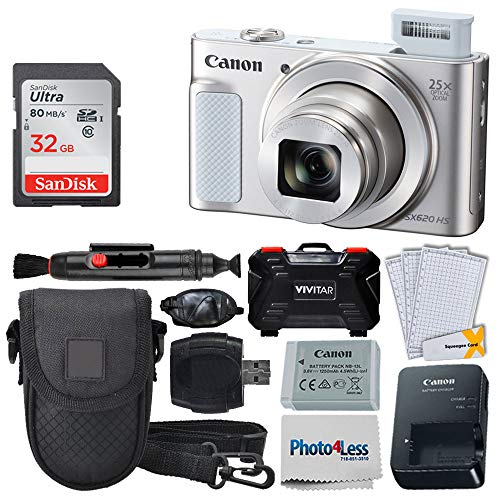 Canon PowerShot SX620 HS Digital Camera (Silver) + 32GB Memory Card + Point & Shoot Camera Case + USB Card Reader + Memory Card Hardcase + LCD Screen Protectors + Hand Camera Grip – Complete Bundle