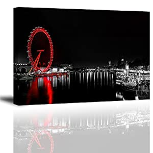 """Black Wall Decor of London Eye Night View for Bedroom, Modern Canvas Painting Art Prints of Red Sky Ferris Wheel Landmark Picture (Water Proof Artwork, Ready to Hang, 1"""" Thick Frame)"""