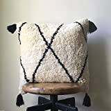Black & White Vintage Moroccan Pillow Cover - 20 x 20 - With Tassel