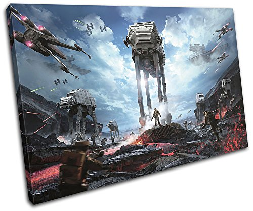 Bold Bloc Design - Star Wars Battlefront AT-AT Gaming 90x60cm SINGLE Canvas Art Print Box Framed Picture Wall Hanging - Hand Made In The UK - Framed And Ready To Hang by Bold Bloc Design
