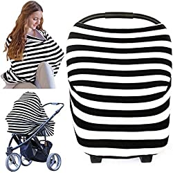 Nursing Cover - Baby Nursing Breastfeeding Cover by KeaBabies - All-in-1 Soft Breathable Stretchy Car Seat Canopy - Infinity Nursing Cover up for Girls, Boys - Carseat Canopy Covers (Black)