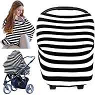 Nursing Cover for Baby Breastfeeding - Car Seat Canopy by KeaBabies - All-in-1 Soft Breathable Stretchy Carseat Canopy - Infinity Nursing Cover Up for Girls, Boys - Carseat Canopy Covers (Black)