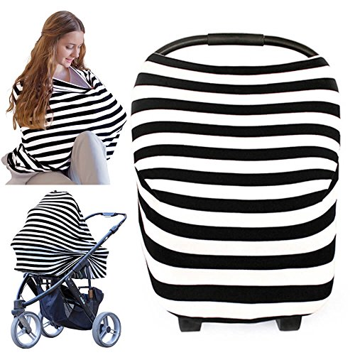 Carseat Canopy Cover – Baby Nursing Cover – All-in-1 Nursing Breastfeeding Covers Up – Baby Car Seat Canopies for Boys…
