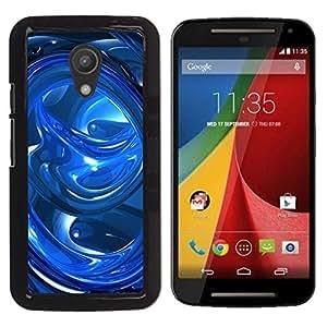 LECELL -- Funda protectora / Cubierta / Piel For Motorola MOTO G 2ND GEN II -- Blue Abstract Swirls --