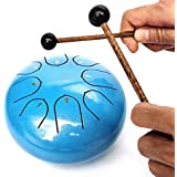 Steel Tongue Drum Instrument - 8 Notes 6 inches Calm Drums - Percussion Handpan Drum with Spiritual Gifts for Meditation Entertainment Musical Education Concert Mind Healing Yoga (blue)
