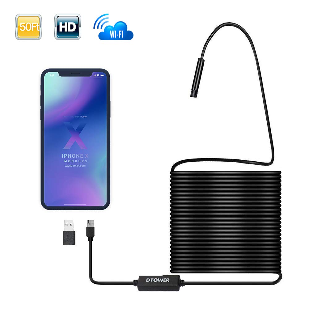 WiFi Endoscope WiFi Borescope with 2 MP HD Resolutions, IP 68 Waterproof for Android Smartphone, iPhone, Samsung, iPad, PC-50FT/15M
