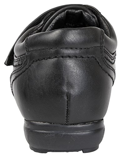 On Leather Shoes Boys Kids Formal Black Adjustable Slip School Faux 2 8 Black Size Strap qwCCBnE8