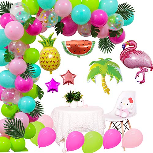 (DIY Balloons Garland with Blue Green Hot pink Confetti Balloons, Hawaii Flamingo Tropical Themed Party Supplies for Birthday Party Hawaii Luau Summer Beach Party)