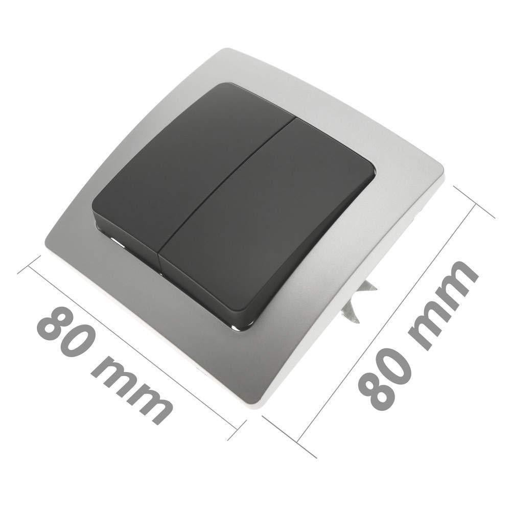 BeMatik - Conmutador Doble empotrable con Marco 80x80mm Serie Lille de Color Plata y Gris BeMatik.com