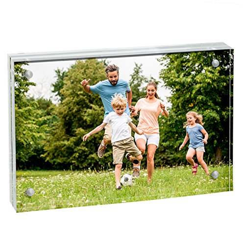 MeetU Acrylic 4x6 Picture Frame Two Sided Desk Photo Frame Magnetic Frame Inner Size 3x5 with Gift Pack for Display Family Pictures Baby Photos Friends Pictures or Pet Dog Picture by MeetU (Image #1)