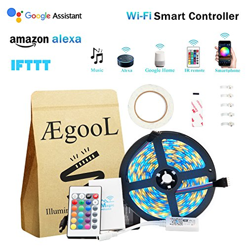 Smart WIFI Wireless Strip Light Kit, RGBW(RGB+Warm White) Multicolor Dimmable Rope Light 5050 16.4ft 300LEDs Waterproof String Light via Remote APP IOS Android Phone Music Alexa Google Home&IFTTT