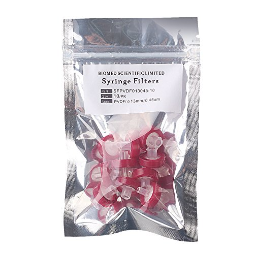 Syringe Filters PVDF ( Polyvinylidene Fluoride) 13 mm Diameter 0.45 um Pore Size Non Sterile Pack of 10 pcs