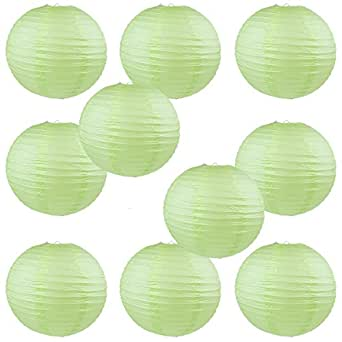 "WYZworks Round Paper Lanterns 10 Pack (Light Apple Green, 14"") - with 8"", 10"", 12"", 16"" option"