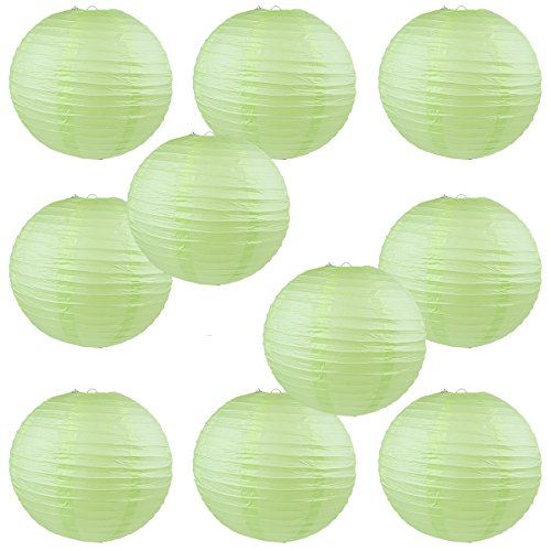 WYZworks-Round-Paper-Lanterns-10-Pack-Light-Apple-Green-10-with-8-10-12-16-option