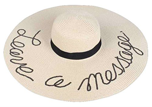 6598753b3ab Amtal Women Leave a Message Embroided Sequins Floppy Beach Hat w Ribbon Trim