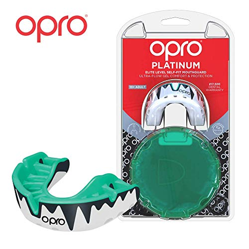 (OPRO Platinum Level Mouthguard | Gum Shield for Rugby, Hockey, Boxing, and Other Contact Sports - 18 Month Dental Warranty (Ages 10+) Mint/Pearl/Black)