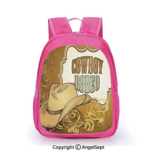 Hot Sale Backpack Casual Daypack,Cowboy Rodeo Themed Framework Vintage Floral Ornaments and Hat Design Decorative Light Caramel White,15.7inch,Travel Outdoor Backpack For Boys And Girls