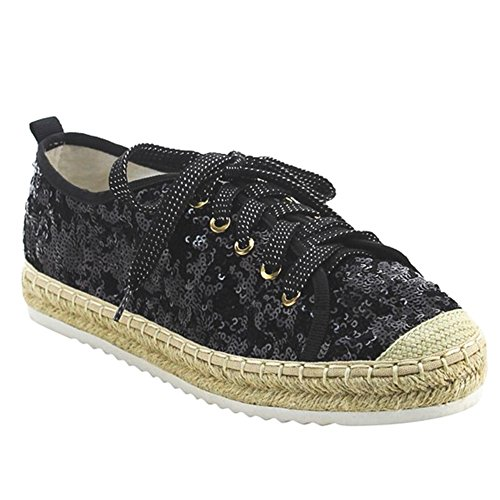 Snj Womens Flat Lace Up Glitter Fashion Scintillante Sneaker Pizzo Nero Glitterato