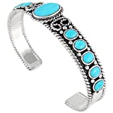 Turquoise Bracelet Sterling Silver 925 Genuine Turquoise (Rodeo Ropes)