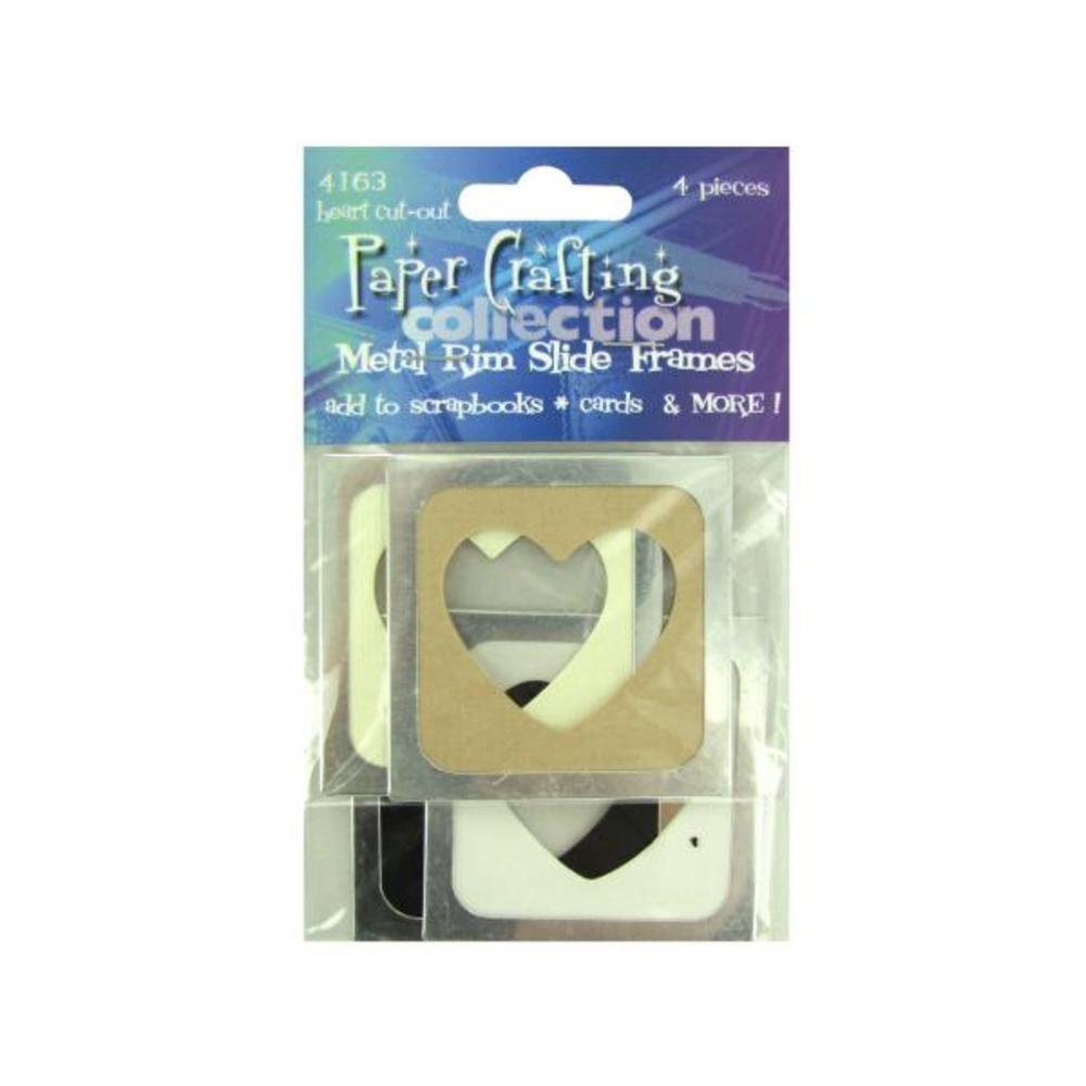 Metal Rim Heart Cut-Out Slide Frames, Pack of 4 - Case of 100
