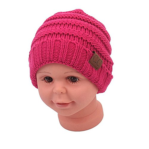 - Sechunk Baby Boy Winter Warm Fleece Lined Hat, Infant Toddler Kids Beanie Knit Cap For Girls and Boys [0-5years] (Rose Red)