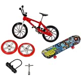 Toy Set Finger Bike & Board Skateboard With Skate Accessories Set [Toy]