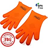 Heat Resistant Kitchen Cooking Glove Set by Chefs Grips | Premium Quality, BPA Free & FDA Approved Silicone | Stain Resistant & Dishwasher Safe Gloves| Best for Oven Baking, Grilling & BBQ | Orange