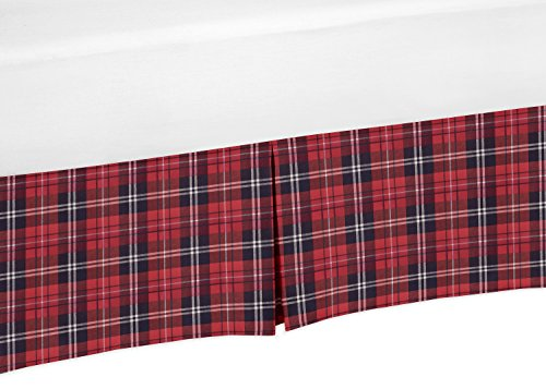 Sweet Jojo Designs Red and Black Woodland Plaid Baby Boy Pleated Crib Bed Skirt Dust Ruffle for Rustic Patch Collection - (Cabin Bed Ruffle Bedskirt)